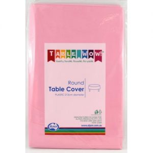 round table cover pink
