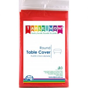 round table cover red
