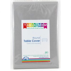 round table cover silver