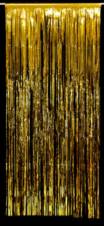 gold foil curtain drape