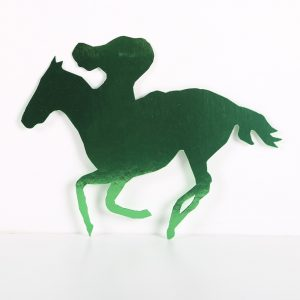 Foilboard Cutout Rider and Horse Green
