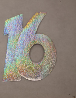Cardboard Cutout Number 16 Holographic silver