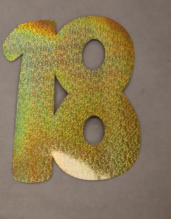 Cardboard Cutout Number 18 holographic gold