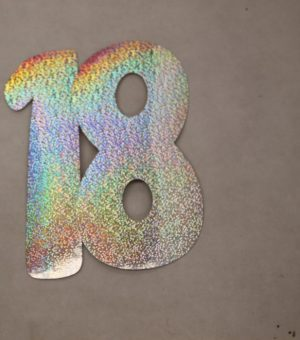 Cardboard Cutout Number 18 holographic silver