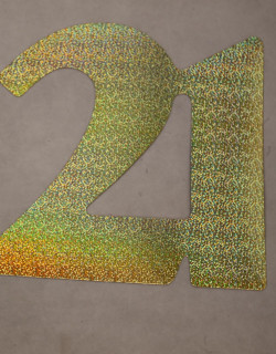 Cardboard Cutout Number 21 holographic gold