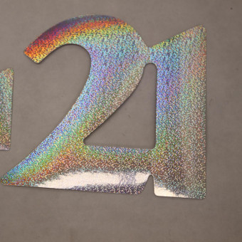 Cardboard Cutout Number 21 holographic silver
