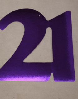 Cardboard Cutout Number 21 purple