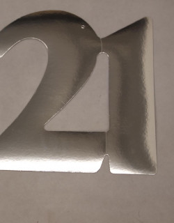 Cardboard Cutout Number 21 silver