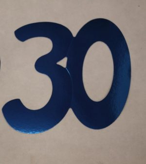 Cardboard Cutout Number 30 blue