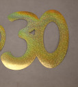 Cardboard Cutout Number 30 holographic gold