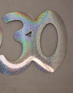 Cardboard Cutout Number 30 holographic silver