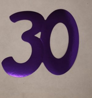 Cardboard Cutout Number 30 purple