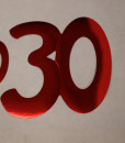 Cardboard Cutout Number 30 red