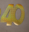 Cardboard Cutout Number 40 holographic gold