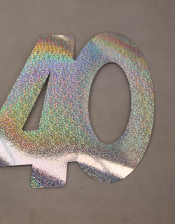 Cardboard Cutout Number 40 holographic silver