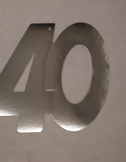 Cardboard Cutout Number 40 silver