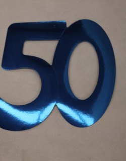 Cardboard Cutout Number 50 blue