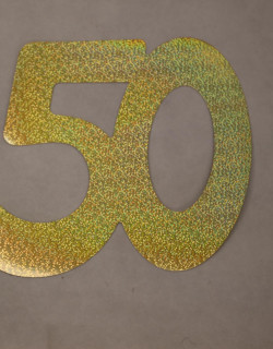 Cardboard Cutout Number 50 holographic gold