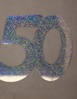 Cardboard Cutout Number 50 Holographic Silver