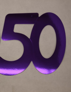 Cardboard Cutout Number 50 purple