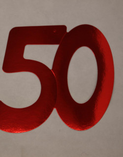Cardboard Cutout Number 50 red