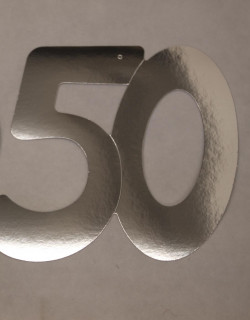 Cardboard Cutout Number 50 silver
