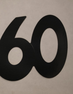 Cardboard Cutout Number 60 Black