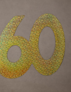 Cardboard Cutout Number 60 Holographic Gold