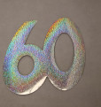 Cardboard Cutout Number 60 holographic silver