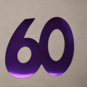 Cardboard Cutout Number 60 purple
