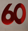 Cardboard Cutout Number 60 red