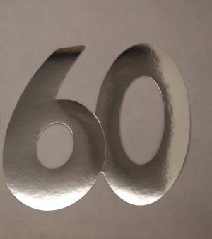 Cardboard Cutout Number 60 Silver