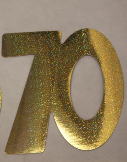 Cardboard Cutout Number 70 holographic gold