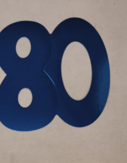Cardboard Cutout Number 80 Blue
