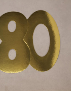 Cardboard Cutout Number 80 Gold