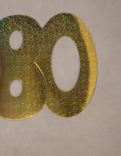 Cardboard Cutout Number 80 holographic Gold