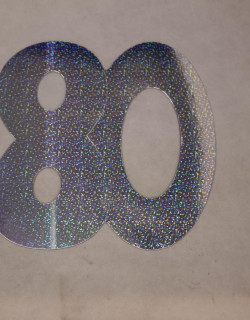 Cardboard Cutout Number 80 holographic silver