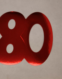 Cardboard Cutout Number 80 red