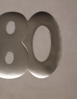 Cardboard Cutout Number 80 silver