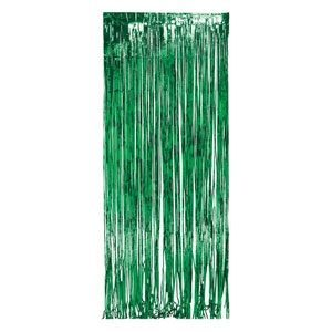 green foil curtain drape