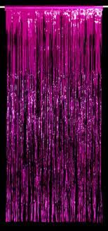 cerise foil tinsel curtain