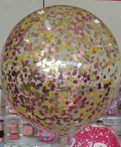 90cm gold and red confetti filled balloon