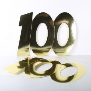 Cardboard Cutout Number 100 gold