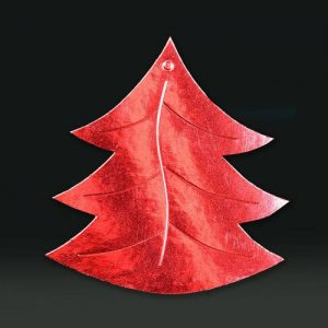 Cardboard cutout xmas tree red