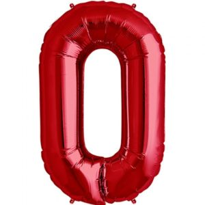 #0 red foil number balloon