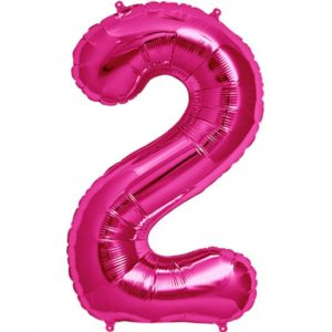 #2 magenta foil number balloon