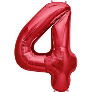 #4 red foil number balloon