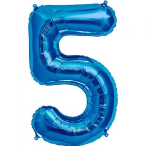 #5 blue foil number balloon