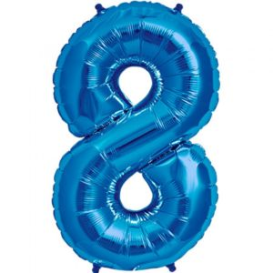 #8 blue foil number balloon