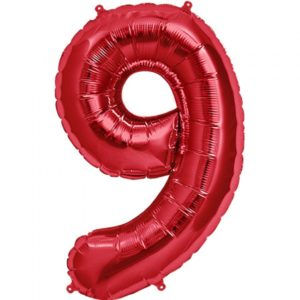 #9 red foil number balloon